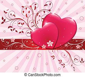 rouges, illustration, coeur