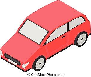 rouges, isométrique, style, voiture, icône