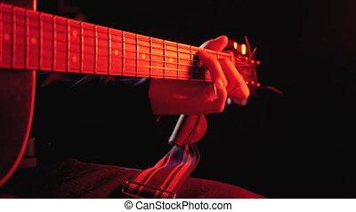 rouges, jouer, fond, guitare, acoustique, rétroéclairage,...