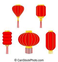 rouges, lanterne, chinois, collection, dessin animé