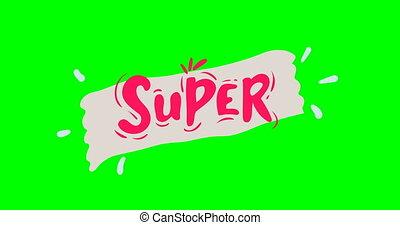 rouges, letters., animé, écran, main, dessin, vert, approval., lettrage, super.