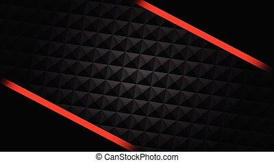 rouges, lignes, arrière-plan noir, résumé