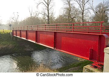 rouges, métal, pont, 1
