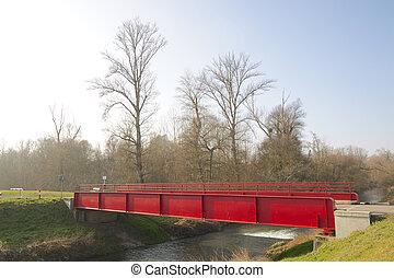 rouges, métal, pont, 2
