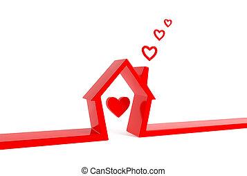 rouges, maison, à, heart-clouds