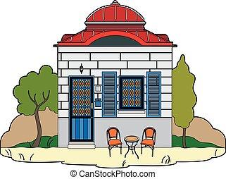 rouges, maison, vendange, toit