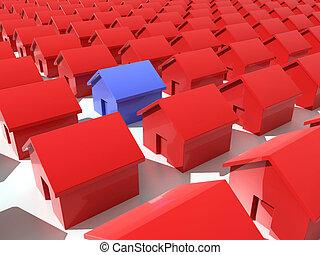 rouges, maisons