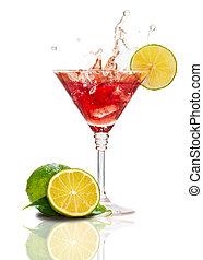 rouges, martini, cocktail, à, éclaboussure, et, chaux, isolé
