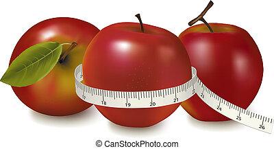 rouges, mesuré, trois, mètre, pommes