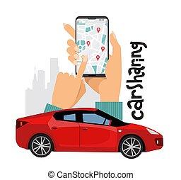 rouges, mobile, composition, mains, grand, smartphone, lettrage, illustration, ligne, ville, transport, vecteur, concept., femmes, partage, premier plan, voiture, silhouette., sports