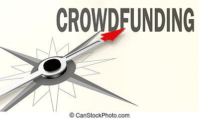 rouges, mot, flèche, crowdfunding, compas