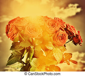rouges, mouillé, roses, fleurs, bouquet, sur, ciel, arrière-plan., vendange