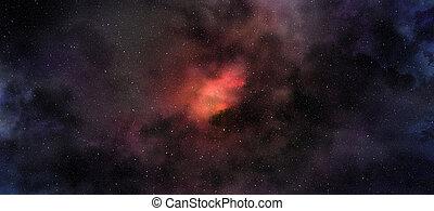 rouges, nébuleuse, espace