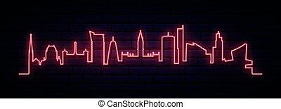 rouges, néon, manchester, city., horizon