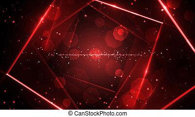 rouges, néon, virtuel, fond, résumé, lumières, espace, tunnel, ligne