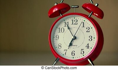 rouges, nightstand, blanc, horloge, 6:55, reveil, temps