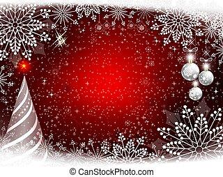 rouges, noël, conception, à, doux, flocons neige, noël, blanc neige, fur-tree, et, balls.