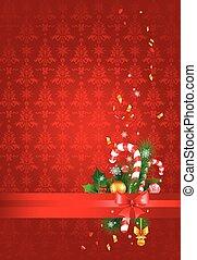 rouges, noël, fond, à, décoration