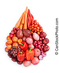 rouges, nourriture saine