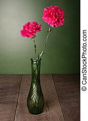 rouges, oeillet, fleurs, dans, fleur pleine