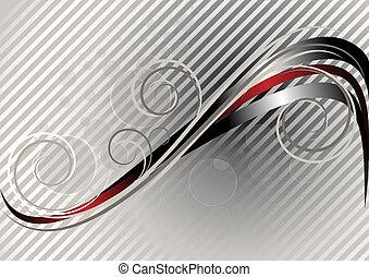 rouges, ondulé, raies, argent