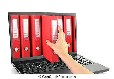 rouges, ordinateur portable, sonner classeurs