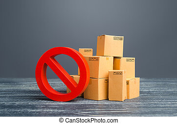 rouges, overproduction, pays, restriction, symbole, stock., exportation, importation, carton, scarcity., sous, ou, marchandises, wars., boîtes, dual-use, embargo, prohibition, interdiction, no., dehors, sanctions., commercer