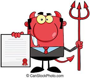rouges, patron, diable, trident