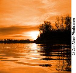 rouges, paysage rivière, à, coucher soleil