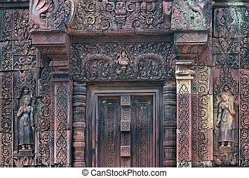 rouges, pierre taille, de, les, banteay, srei, temple, dans,...