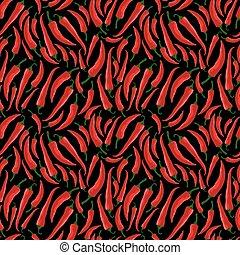 rouges, piment, modèle, seamless, poivres, ilustration