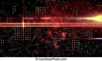 rouges, piste, fond, noir, former, carrée, lumière, points, contre