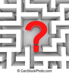 rouges, point interrogation, intérieur, blanc, maze.