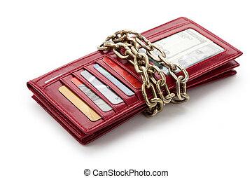 rouges, portefeuille, et, chaîne