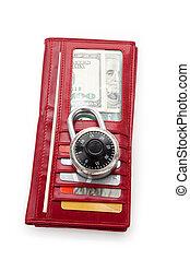 rouges, portefeuille, et, serrure