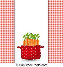 rouges, pot, à, carrots., organique, régime, nourriture saine, icon., vecteur, illustration.
