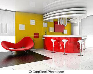 rouges, réception, dans, moderne, hôtel