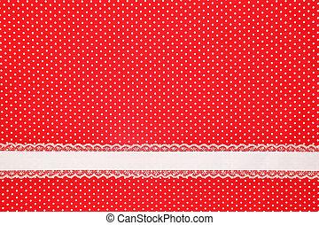 rouges, retro, pois, textile, fond, à, ruban
