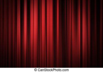 rouges, rideau étape, fond
