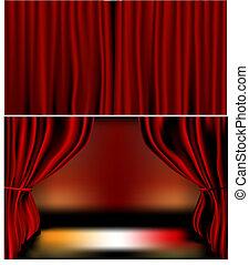 rouges, rideaux velours