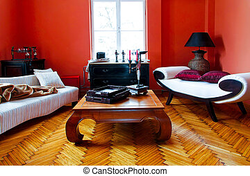 rouges, salle, vivant