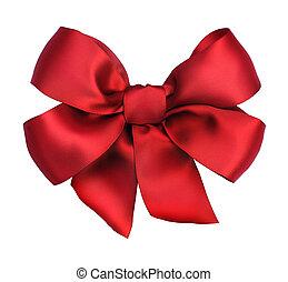 rouges, satin, cadeau, bow., ribbon., isolé, blanc