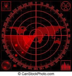 rouges, screen., radar, vecteur, illustration., eps10.