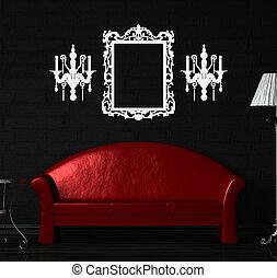 rouges, sofa, table, et, lampe standard, dans, noir,...