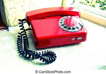 rouges, soviétique, retro, téléphone