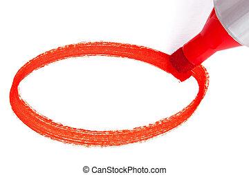 rouges, stylo marqueur, cercle