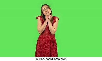 rouges, super, proverbe, robe, choqué, tendre, écran, girl, ...