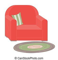 rouges, tapissé, rayé, tapis, fauteuil, oreiller