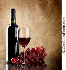 rouges, tas, bouteille, raisins, vin