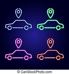 rouges, taxi, lignes, arrière-plan., geolocation, incandescent, commander, passager, icône, classique, vecteur, parts., bleu, ensemble, voiture, vert, néon, luminescence, rose, illustration., média, mélangé, bleu